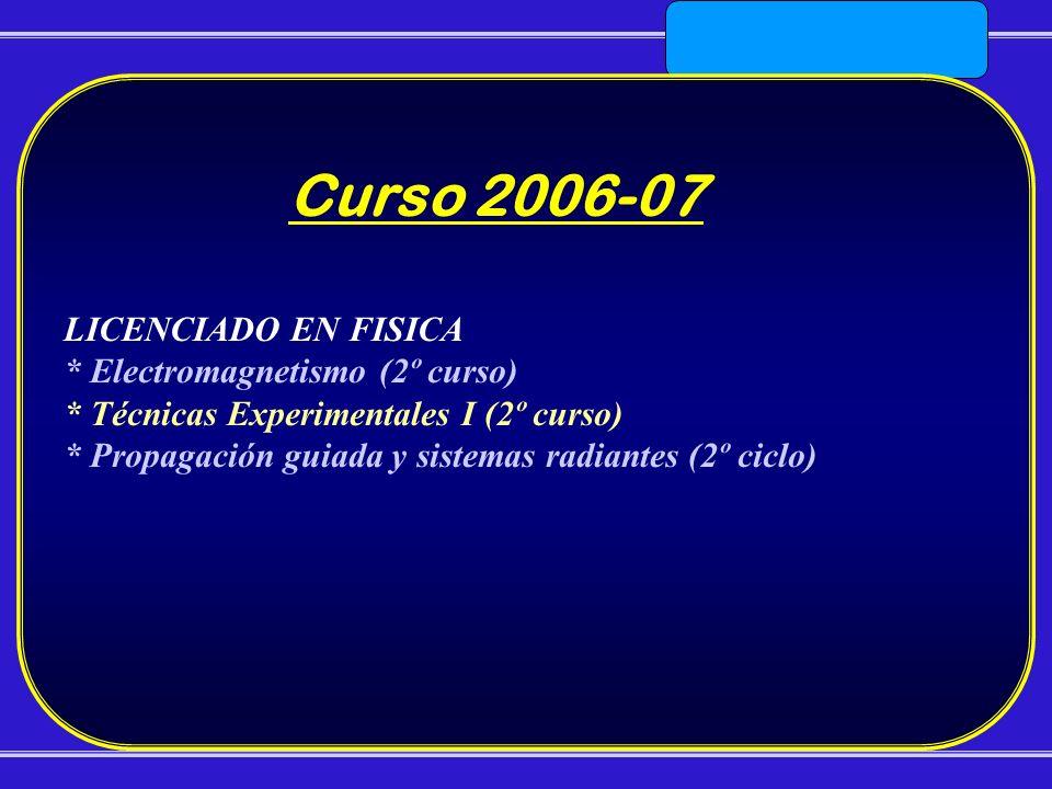 LICENCIADO EN FISICA * Electromagnetismo (2º curso) * Técnicas Experimentales I (2º curso) * Propagación guiada y sistemas radiantes (2º ciclo) Curso