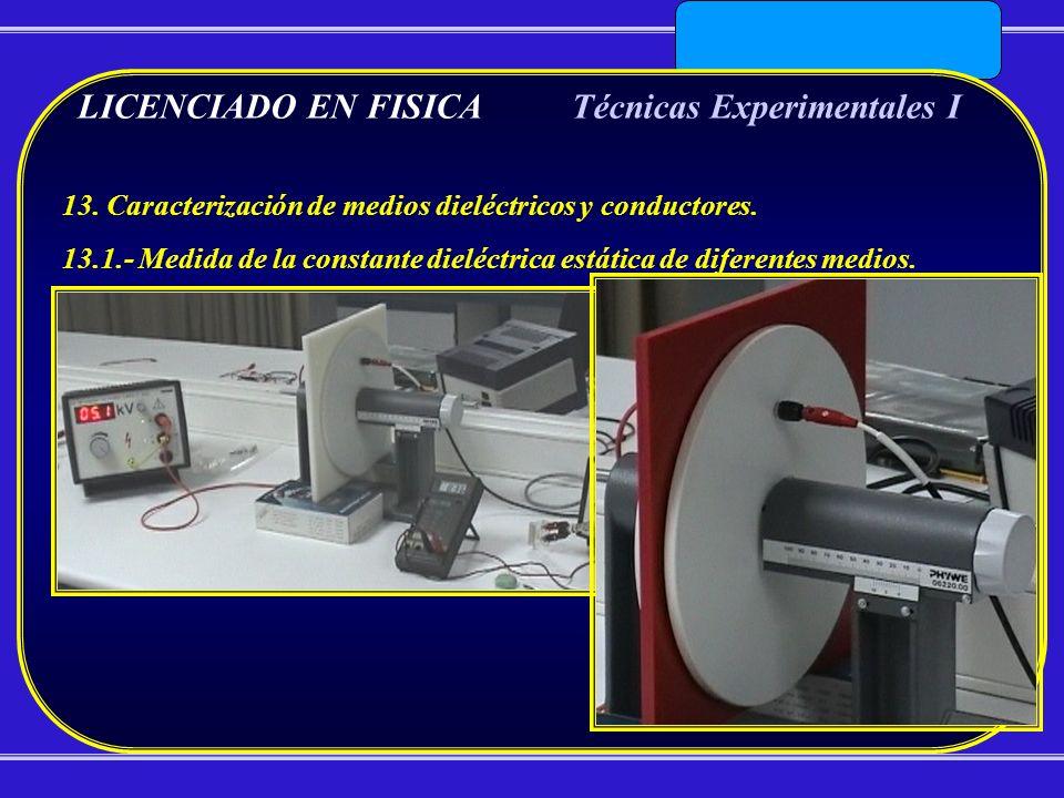 LICENCIADO EN FISICATécnicas Experimentales I 13. Caracterización de medios dieléctricos y conductores. 13.1.- Medida de la constante dieléctrica está