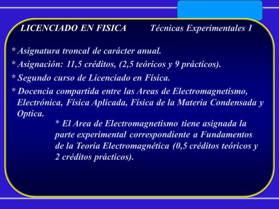 LICENCIADO EN FISICATécnicas Experimentales I * Asignatura troncal de carácter anual. * Asignación: 11,5 créditos, (2,5 teóricos y 9 prácticos). * Seg