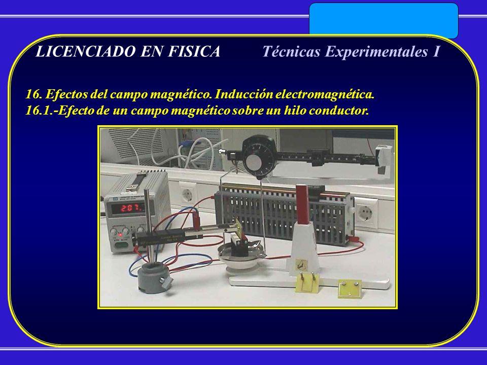 LICENCIADO EN FISICATécnicas Experimentales I 16. Efectos del campo magnético. Inducción electromagnética. 16.1.-Efecto de un campo magnético sobre un