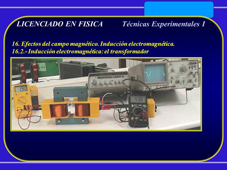 LICENCIADO EN FISICATécnicas Experimentales I 16. Efectos del campo magnético. Inducción electromagnética. 16.2.- Inducción electromagnética: el trans