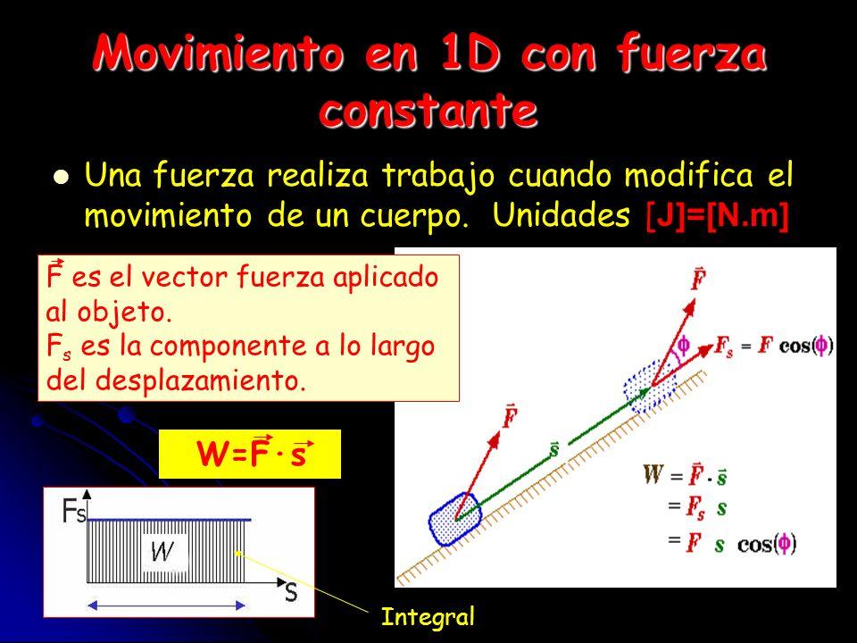 Movimiento en 1D con fuerza constante Una fuerza realiza trabajo cuando modifica el movimiento de un cuerpo. Unidades [ J]=[N.m] F es el vector fuerza