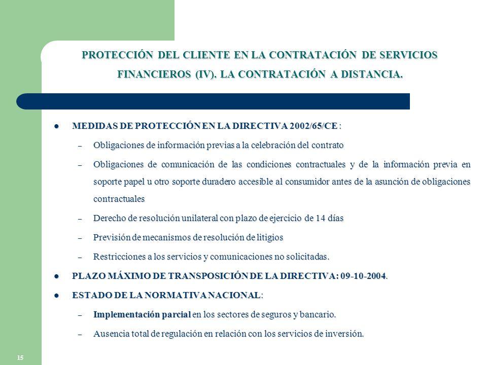 15 PROTECCIÓN DEL CLIENTE EN LA CONTRATACIÓN DE SERVICIOS FINANCIEROS (IV).