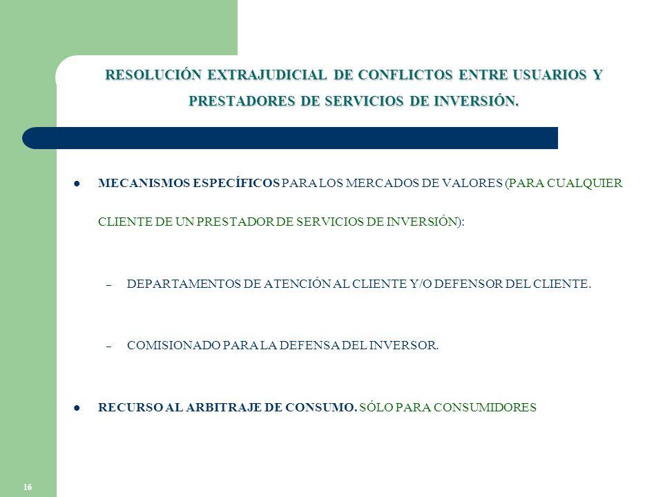 16 RESOLUCIÓN EXTRAJUDICIAL DE CONFLICTOS ENTRE USUARIOS Y PRESTADORES DE SERVICIOS DE INVERSIÓN.