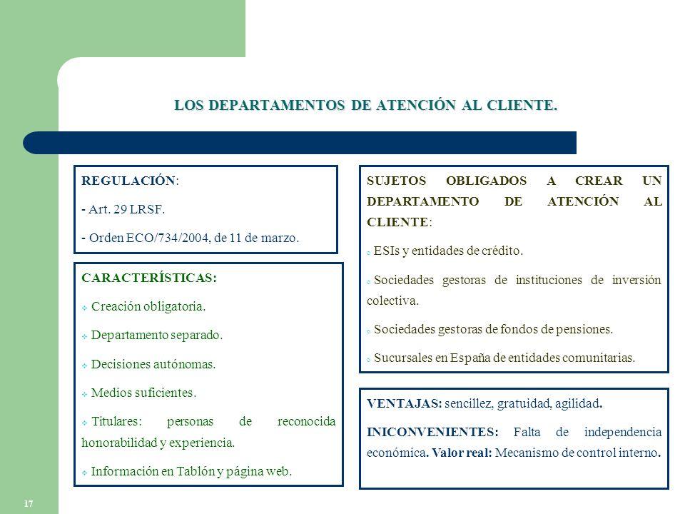17 LOS DEPARTAMENTOS DE ATENCIÓN AL CLIENTE. REGULACIÓN: - Art.