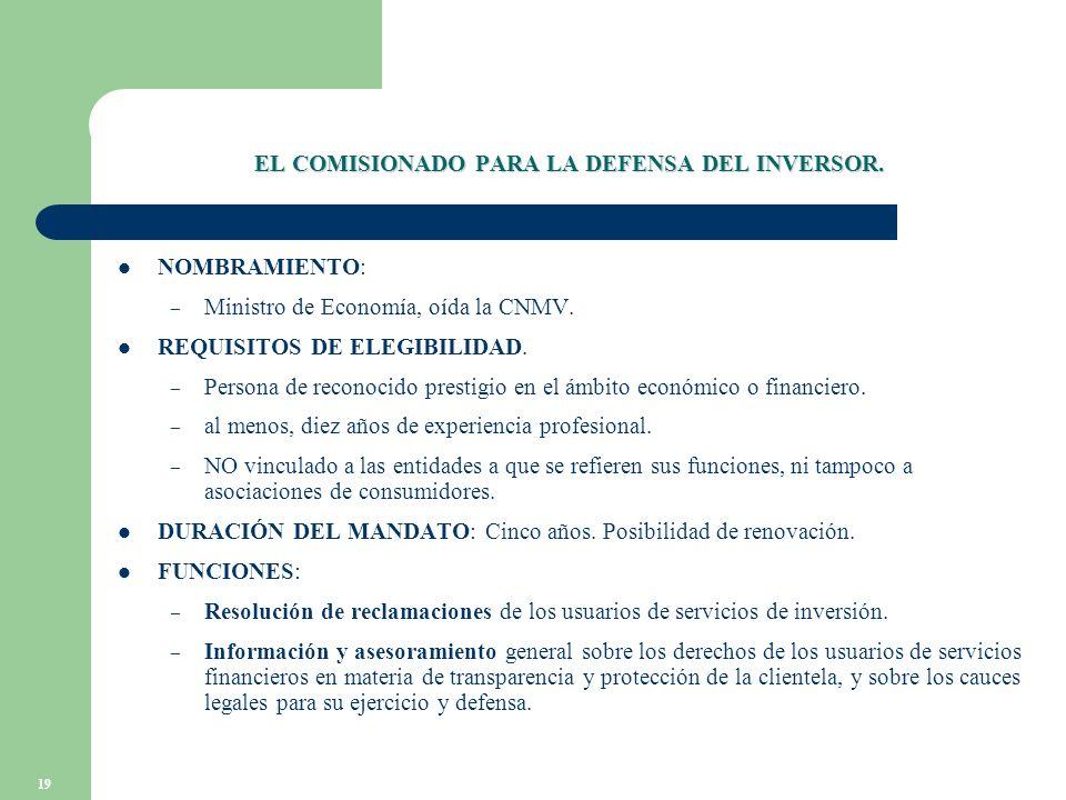 19 EL COMISIONADO PARA LA DEFENSA DEL INVERSOR. NOMBRAMIENTO: – Ministro de Economía, oída la CNMV.