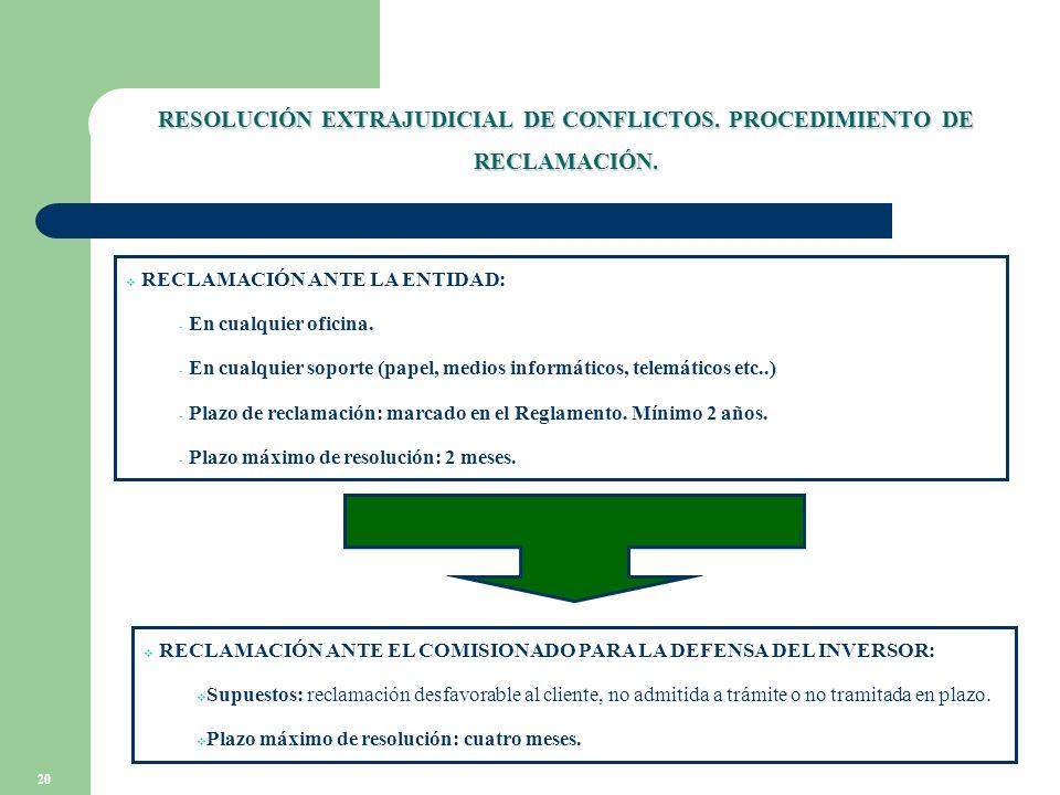20 RESOLUCIÓN EXTRAJUDICIAL DE CONFLICTOS. PROCEDIMIENTO DE RECLAMACIÓN.
