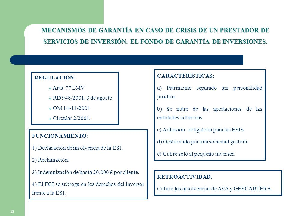 23 MECANISMOS DE GARANTÍA EN CASO DE CRISIS DE UN PRESTADOR DE SERVICIOS DE INVERSIÓN.