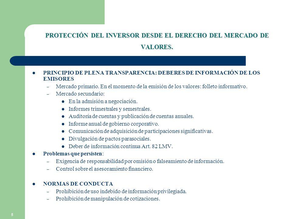 5 PROTECCIÓN DEL INVERSOR DESDE EL DERECHO DEL MERCADO DE VALORES.