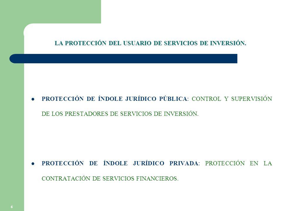 6 LA PROTECCIÓN DEL USUARIO DE SERVICIOS DE INVERSIÓN.