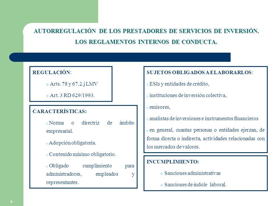 9 AUTORREGULACIÓN DE LOS PRESTADORES DE SERVICIOS DE INVERSIÓN.
