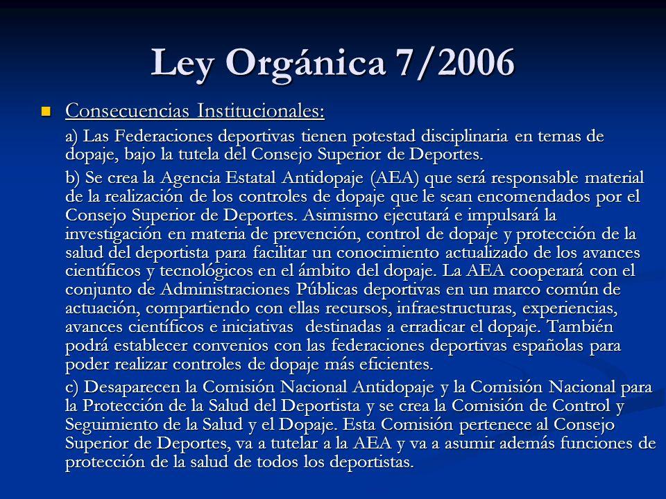 Ley Orgánica 7/2006 Consecuencias Institucionales: Consecuencias Institucionales: a) Las Federaciones deportivas tienen potestad disciplinaria en tema