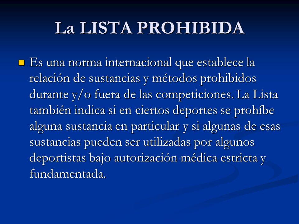 La LISTA PROHIBIDA Es una norma internacional que establece la relación de sustancias y métodos prohibidos durante y/o fuera de las competiciones. La