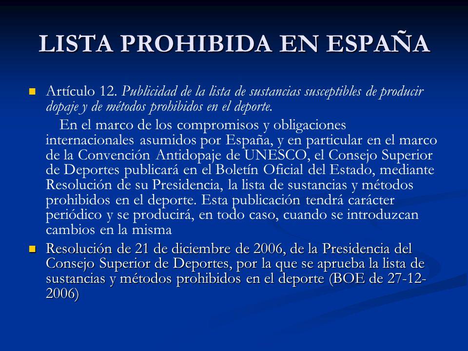 LISTA PROHIBIDA EN ESPAÑA Artículo 12. Publicidad de la lista de sustancias susceptibles de producir dopaje y de métodos prohibidos en el deporte. En