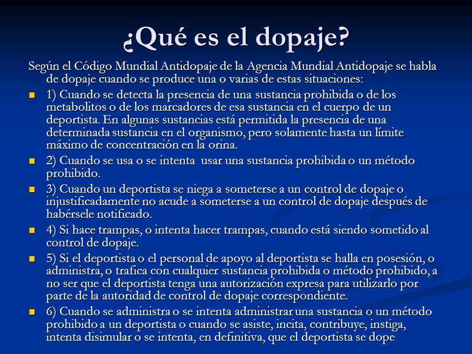 ¿Qué es el dopaje? Según el Código Mundial Antidopaje de la Agencia Mundial Antidopaje se habla de dopaje cuando se produce una o varias de estas situ