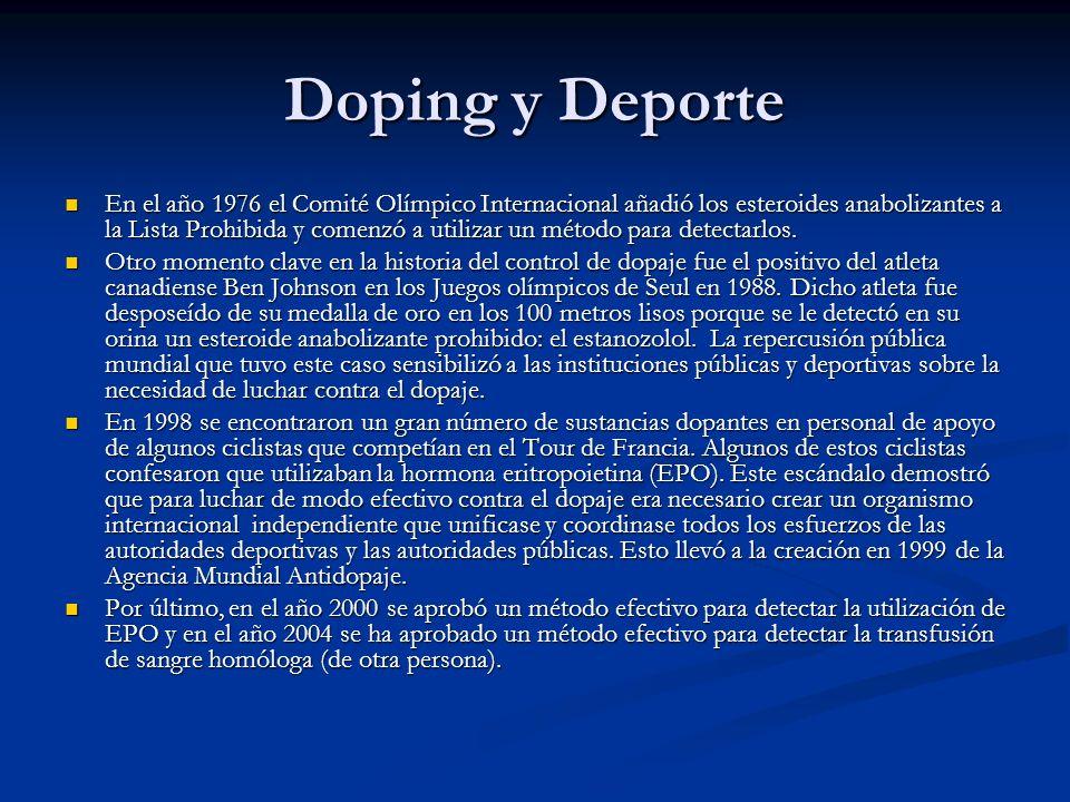 Doping y Deporte En el año 1976 el Comité Olímpico Internacional añadió los esteroides anabolizantes a la Lista Prohibida y comenzó a utilizar un méto