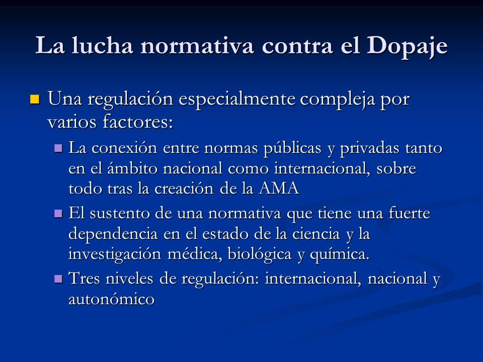 La lucha normativa contra el Dopaje Una regulación especialmente compleja por varios factores: Una regulación especialmente compleja por varios factor