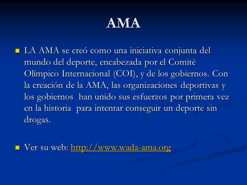 AMA LA AMA se creó como una iniciativa conjunta del mundo del deporte, encabezada por el Comité Olímpico Internacional (COI), y de los gobiernos. Con
