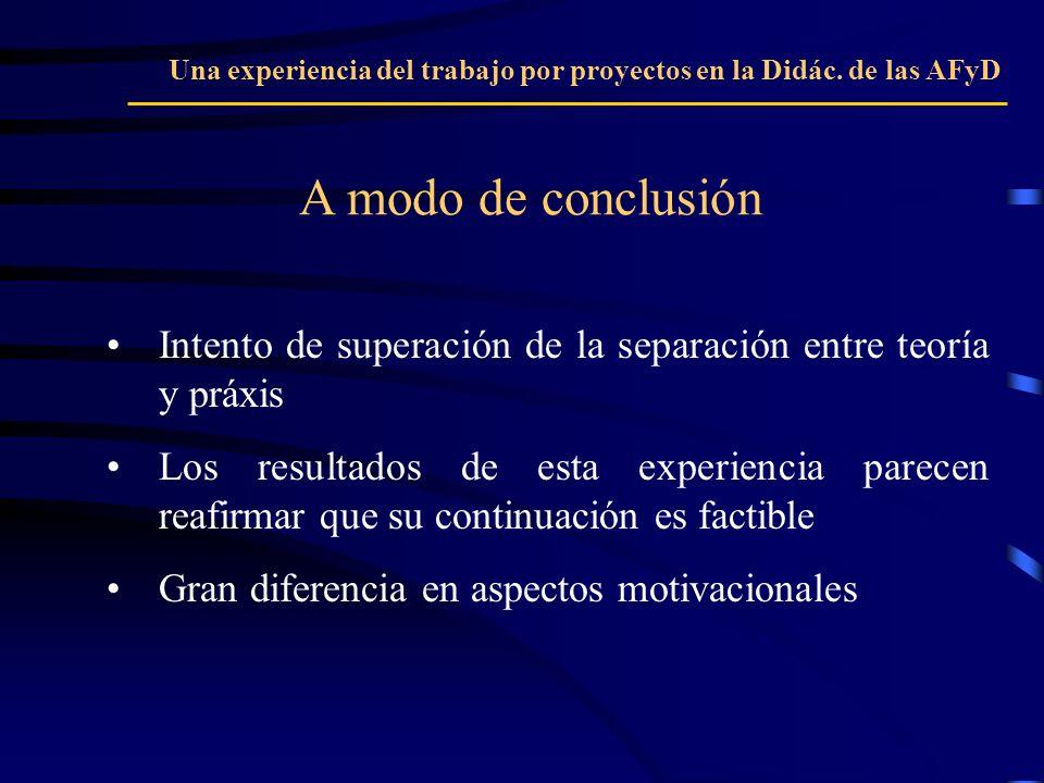 A modo de conclusión Una experiencia del trabajo por proyectos en la Didác. de las AFyD Intento de superación de la separación entre teoría y práxis L