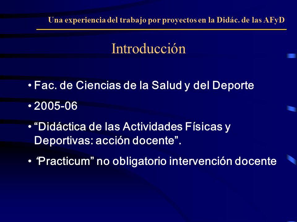 Fac. de Ciencias de la Salud y del Deporte 2005-06 Didáctica de las Actividades Físicas y Deportivas: acción docente. Practicum no obligatorio interve