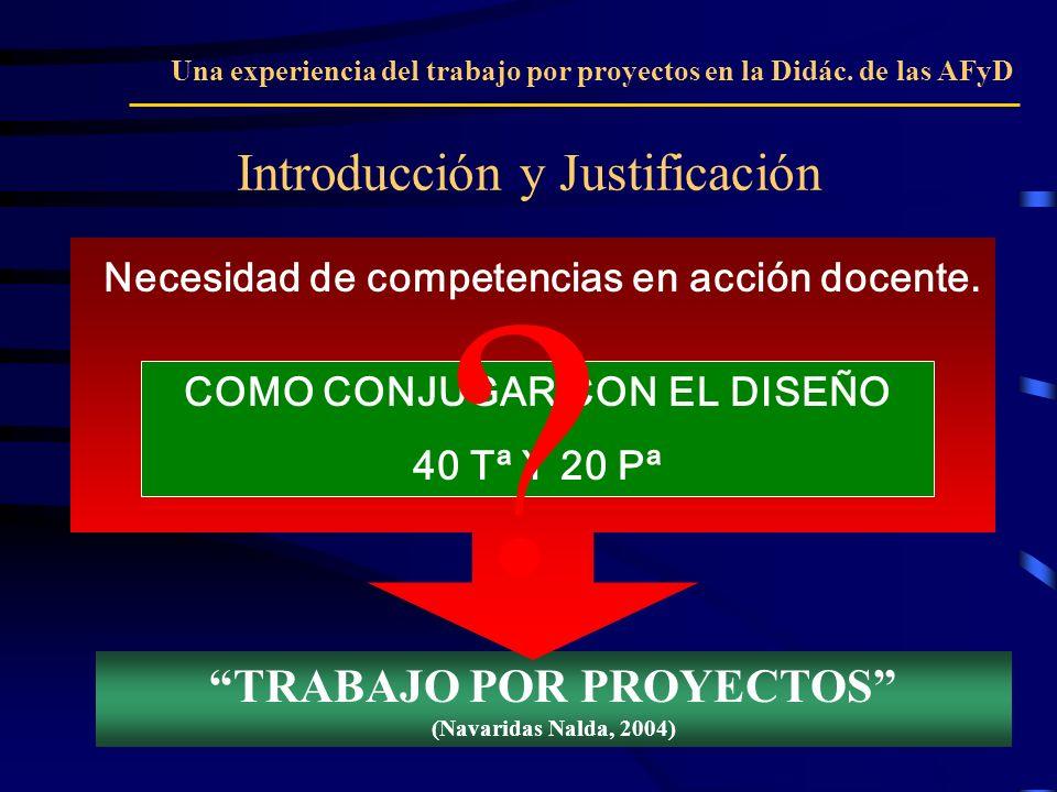 TRABAJO POR PROYECTOS (Navaridas Nalda, 2004) Necesidad de competencias en acción docente. Introducción y Justificación Una experiencia del trabajo po