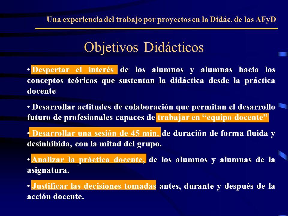 Objetivos Didácticos Una experiencia del trabajo por proyectos en la Didác. de las AFyD Despertar el interés de los alumnos y alumnas hacia los concep
