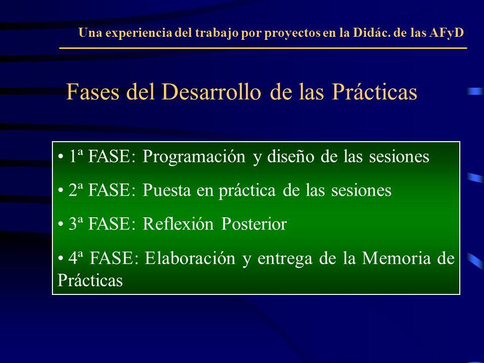 Fases del Desarrollo de las Prácticas Una experiencia del trabajo por proyectos en la Didác. de las AFyD 1ª FASE: Programación y diseño de las sesione