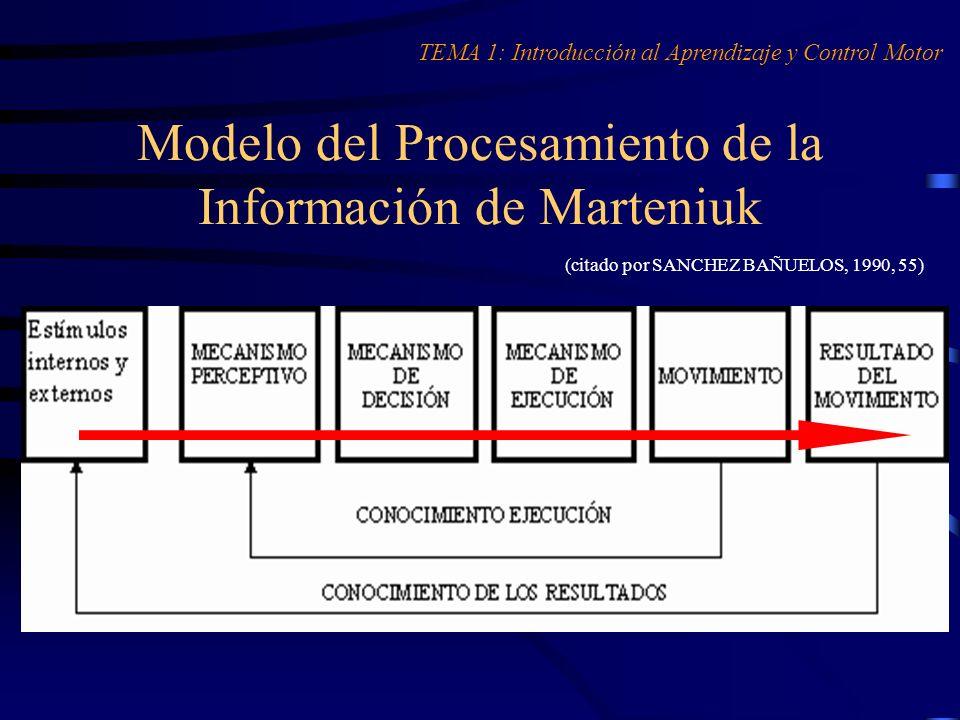 Modelo del Procesamiento de la Información de Marteniuk (citado por SANCHEZ BAÑUELOS, 1990, 55) TEMA 1: Introducción al Aprendizaje y Control Motor