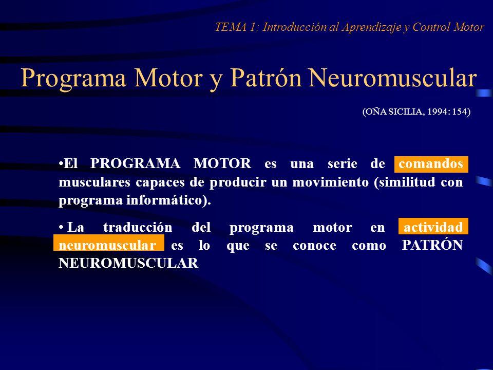 Programa Motor y Patrón Neuromuscular (OÑA SICILIA, 1994: 154) El PROGRAMA MOTOR es una serie de comandos musculares capaces de producir un movimiento
