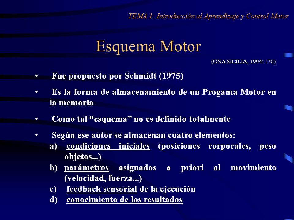 Almacenamiento del Esquema Motor (OÑA SICILIA, 1994: 170) TEMA 1: Introducción al Aprendizaje y Control Motor PARA EL APRENDIZAJE DE UNA ACCIÓN MOTRIZ TAREA 1 2 3 4 5 n ESQUEMAS MOTORES MÁS ABIERTOS