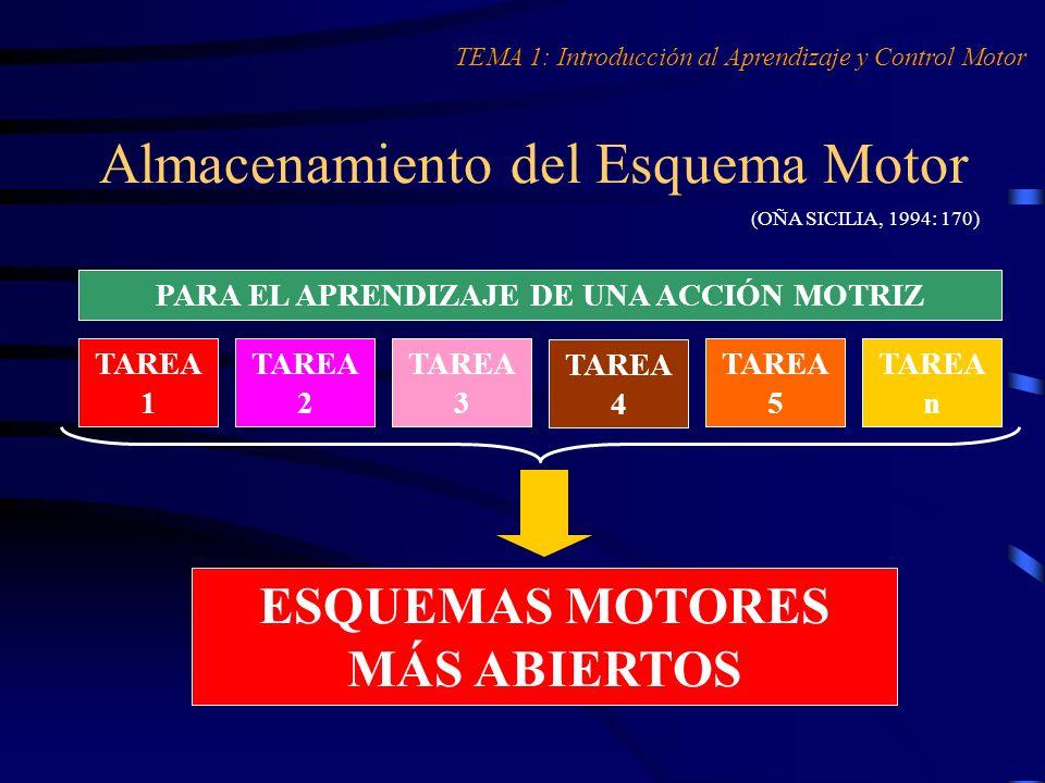 Almacenamiento del Esquema Motor (OÑA SICILIA, 1994: 170) TEMA 1: Introducción al Aprendizaje y Control Motor PARA EL APRENDIZAJE DE UNA ACCIÓN MOTRIZ