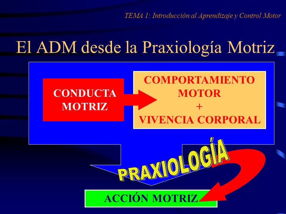 El ADM desde la Praxiología Motriz TEMA 1: Introducción al Aprendizaje y Control Motor ACCIÓN MOTRIZ COMPORTAMIENTO MOTOR + VIVENCIA CORPORAL CONDUCTA