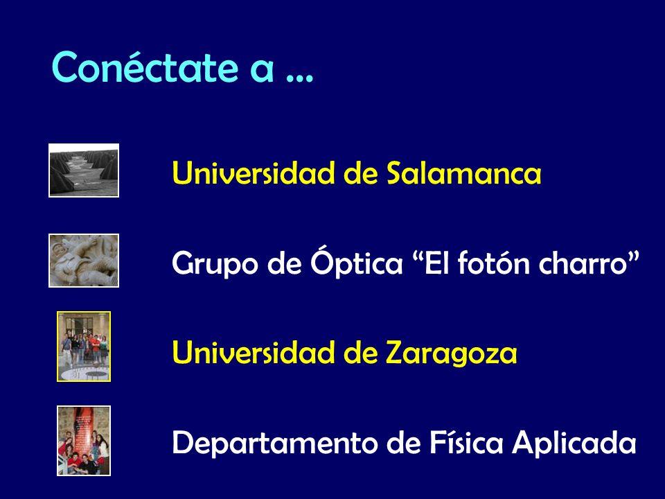Universidad de Salamanca Grupo de Óptica El fotón charro Universidad de Zaragoza Departamento de Física Aplicada Conéctate a...