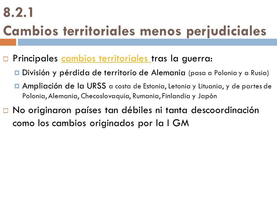 8.2.1 Cambios territoriales menos perjudiciales Principales cambios territoriales tras la guerra:cambios territoriales División y pérdida de territori