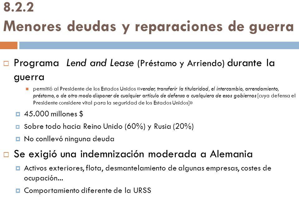 8.2.2 Menores deudas y reparaciones de guerra Programa Lend and Lease (Préstamo y Arriendo) durante la guerra permitió al Presidente de los Estados Un