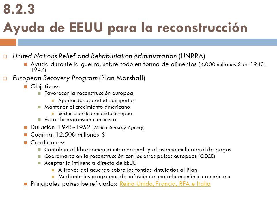 8.2.3 Ayuda de EEUU para la reconstrucción United Nations Relief and Rehabilitation Administration (UNRRA) Ayuda durante la guerra, sobre todo en form
