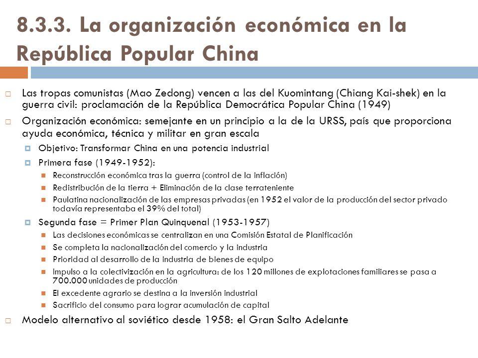 8.3.3. La organización económica en la República Popular China Las tropas comunistas (Mao Zedong) vencen a las del Kuomintang (Chiang Kai-shek) en la
