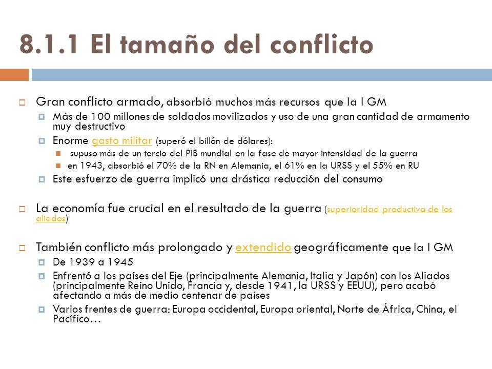 8.1.1 El tamaño del conflicto Gran conflicto armado, absorbió muchos más recursos que la I GM Más de 100 millones de soldados movilizados y uso de una