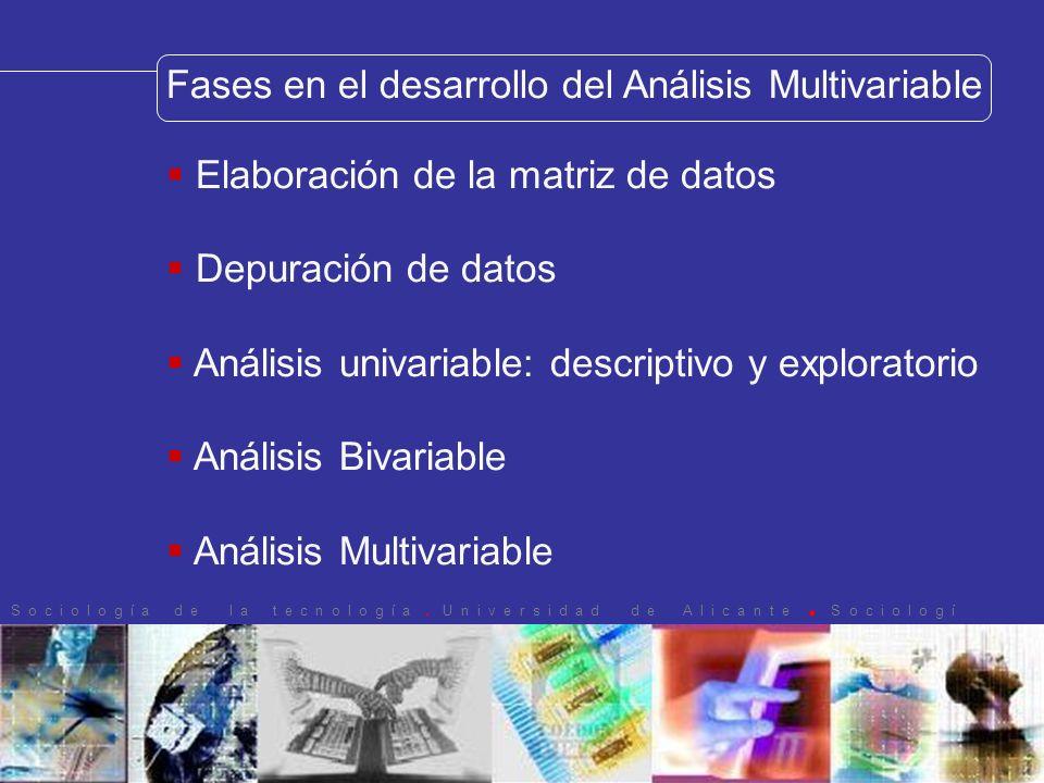 Fases en el desarrollo del Análisis Multivariable Elaboración de la matriz de datos