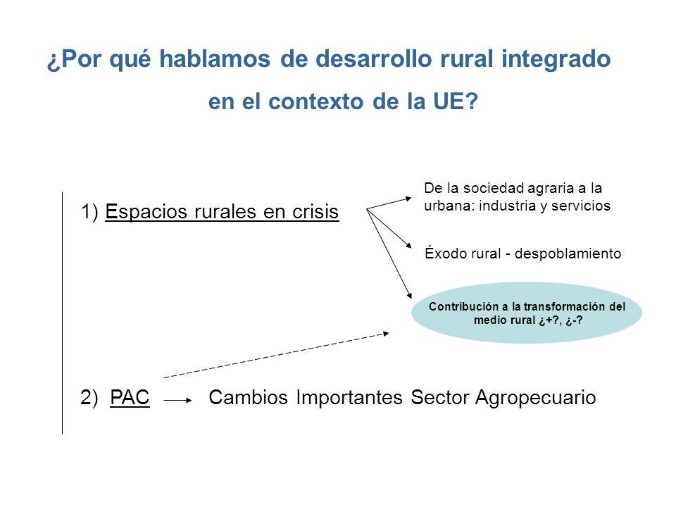 ¿Por qué hablamos de desarrollo rural integrado en el contexto de la UE? 1) Espacios rurales en crisis Éxodo rural - despoblamiento 2) PAC Cambios Imp