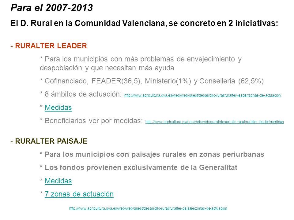 Para el 2007-2013 El D. Rural en la Comunidad Valenciana, se concreto en 2 iniciativas: - RURALTER LEADER * Para los municipios con más problemas de e