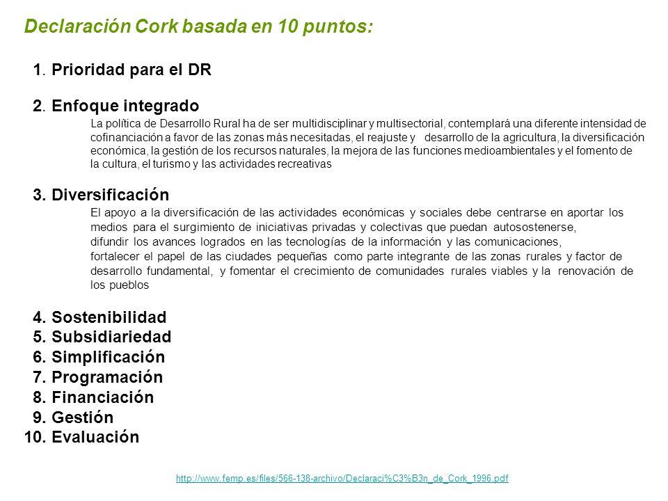 http://www.femp.es/files/566-138-archivo/Declaraci%C3%B3n_de_Cork_1996.pdf Declaración Cork basada en 10 puntos: 1. Prioridad para el DR 2. Enfoque in
