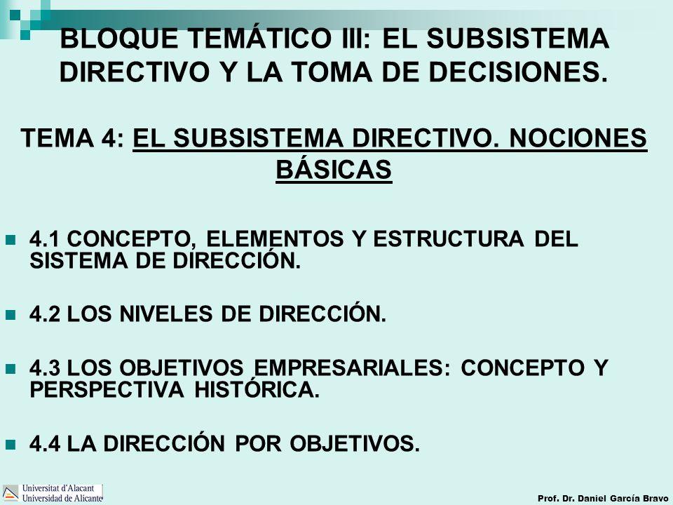 Prof. Dr. Daniel García Bravo BLOQUE TEMÁTICO III: EL SUBSISTEMA DIRECTIVO Y LA TOMA DE DECISIONES. TEMA 4: EL SUBSISTEMA DIRECTIVO. NOCIONES BÁSICAS