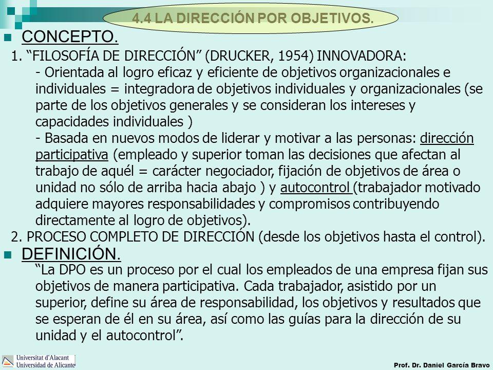 4.4 LA DIRECCIÓN POR OBJETIVOS. Prof. Dr. Daniel García Bravo CONCEPTO. DEFINICIÓN. 1. FILOSOFÍA DE DIRECCIÓN (DRUCKER, 1954) INNOVADORA: - Orientada