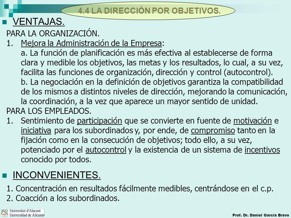 4.4 LA DIRECCIÓN POR OBJETIVOS. Prof. Dr. Daniel García Bravo VENTAJAS. INCONVENIENTES. PARA LA ORGANIZACIÓN. 1.Mejora la Administración de la Empresa