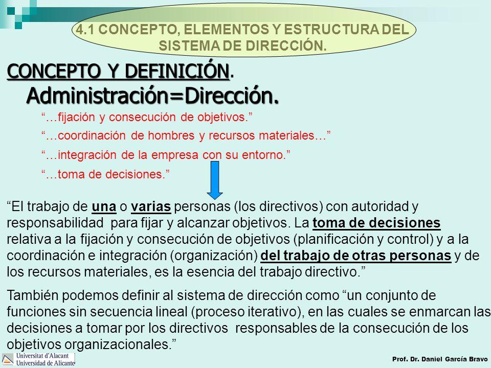 4.1 CONCEPTO, ELEMENTOS Y ESTRUCTURA DEL SISTEMA DE DIRECCIÓN. Prof. Dr. Daniel García Bravo Administración=Dirección. CONCEPTO Y DEFINICIÓN CONCEPTO