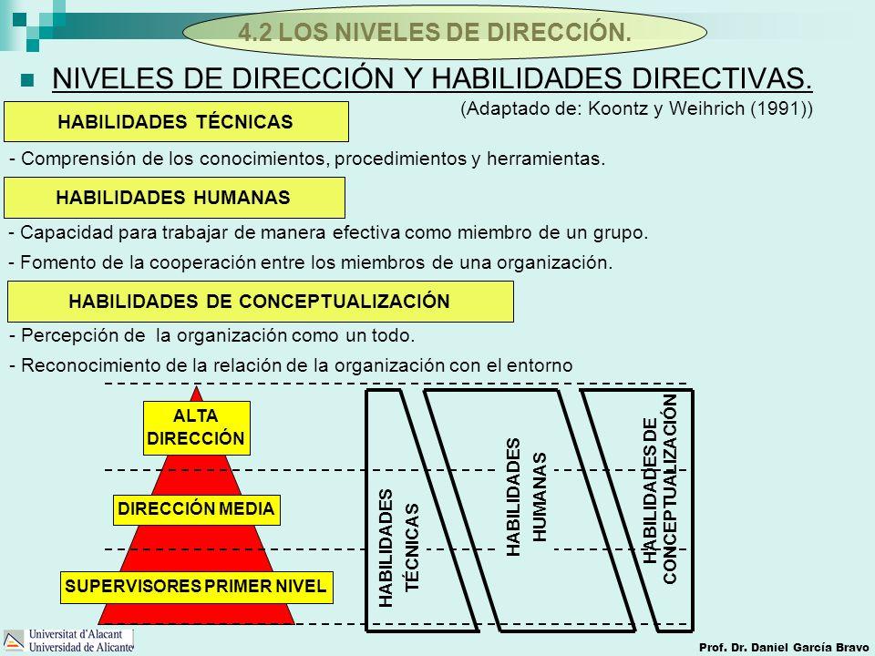 4.2 LOS NIVELES DE DIRECCIÓN. Prof. Dr. Daniel García Bravo NIVELES DE DIRECCIÓN Y HABILIDADES DIRECTIVAS. HABILIDADES TÉCNICAS HABILIDADES HUMANAS HA