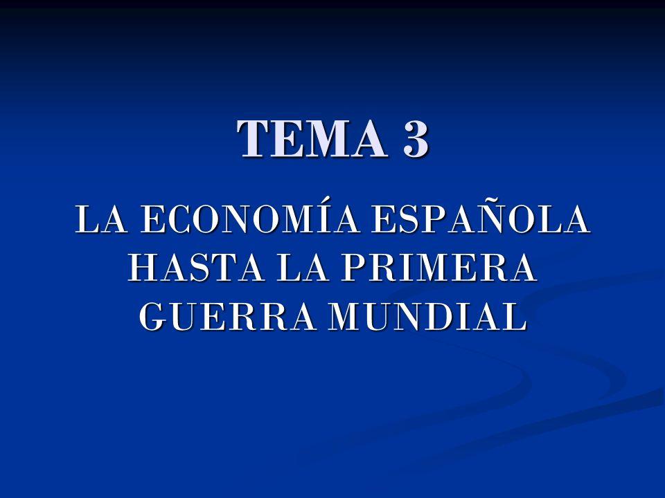 TEMA 3 LA ECONOMÍA ESPAÑOLA HASTA LA PRIMERA GUERRA MUNDIAL