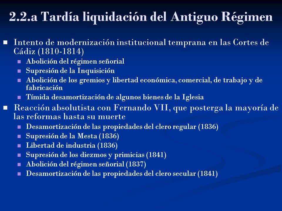 2.2.a Tardía liquidación del Antiguo Régimen Intento de modernización institucional temprana en las Cortes de Cádiz (1810-1814) Abolición del régimen