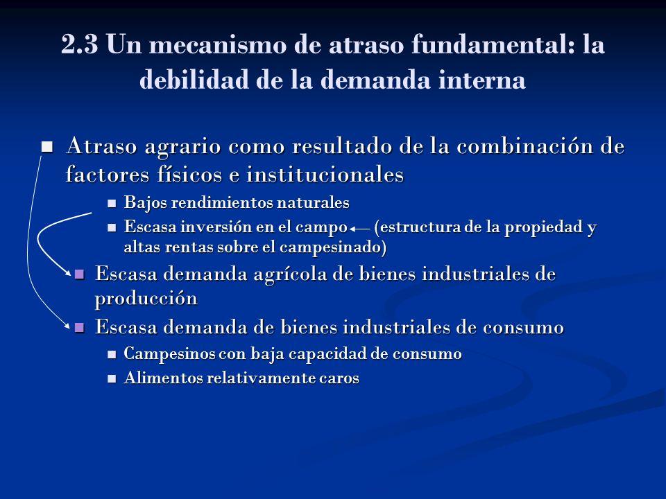 2.3 Un mecanismo de atraso fundamental: la debilidad de la demanda interna Atraso agrario como resultado de la combinación de factores físicos e insti